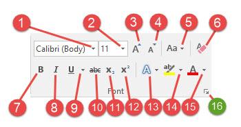 font toolbar